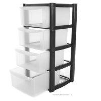 Buy 4 Drawer Plastic Storage Tower Unit   4 Tier Plastic ...