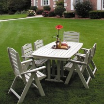 Polywood Nautical Recycled Plastic Outdoor Dining Set 7
