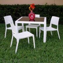 Wickerlook Miami Square Plastic Patio Dining Set 5 Piece