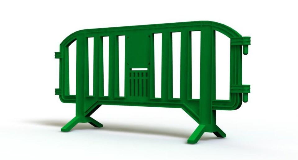Green plastic barrier