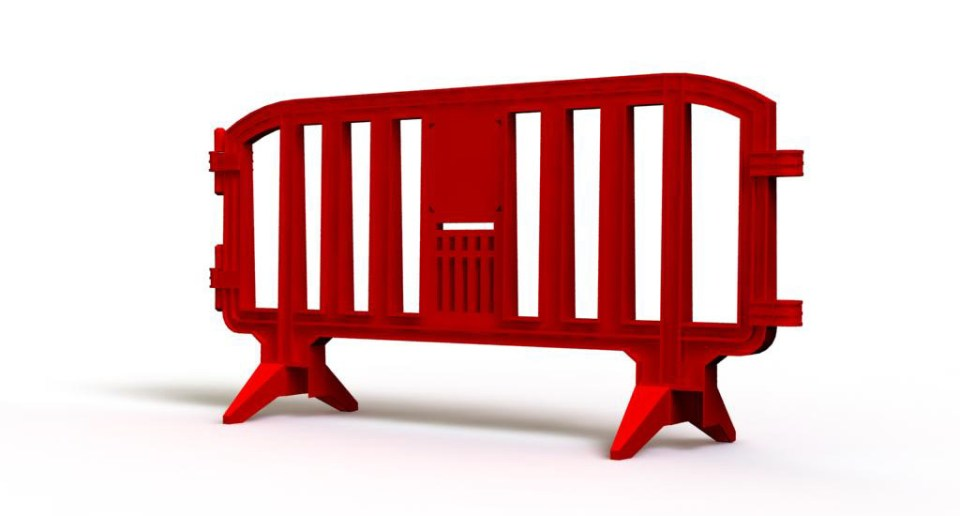 Red plastic barrier