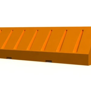 Orange plastic jersey barrier