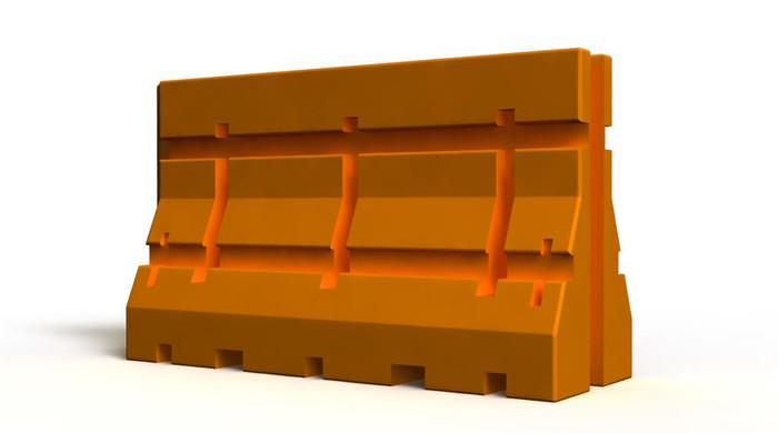 Orange Plastic jersey barrier
