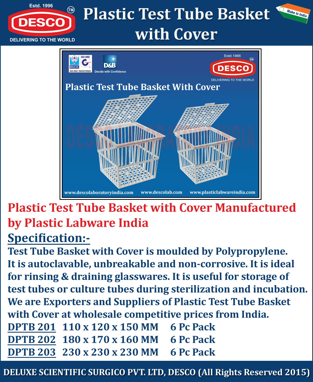 Plastic Test Tube Basket with Cover  Manufacturers Vendors  Exporter India