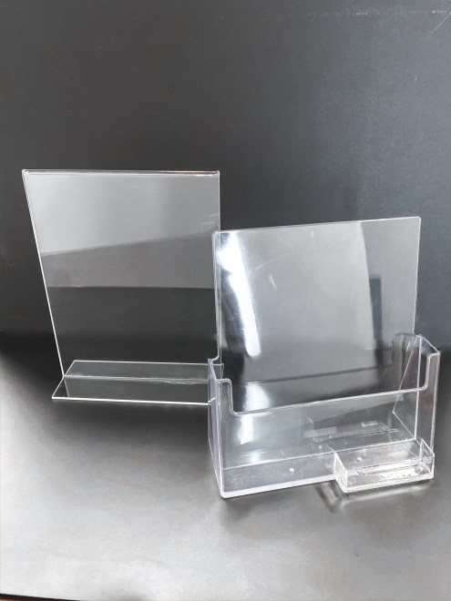 Acrylic displays for sign holder with business card holder