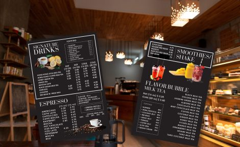 Bubble tea menu boards