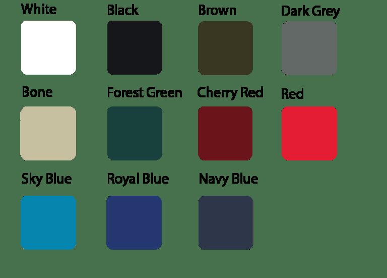waterproof menu colors