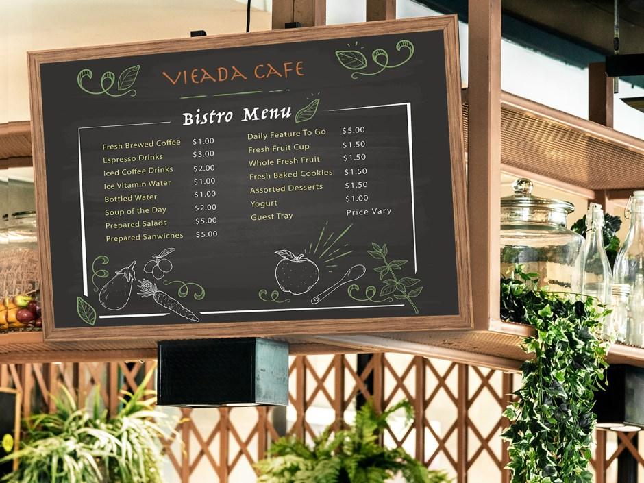 Large format menu board for restaurant menu