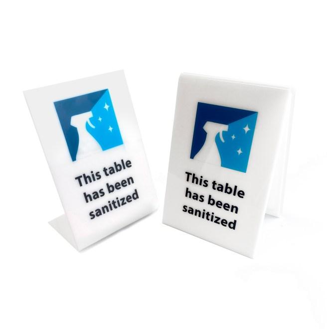 Table sanitized acrylic sign