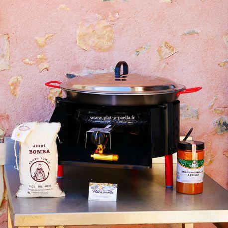 kit a paella bbq40 pour 12 personnes plat acier couvercle thermocouple