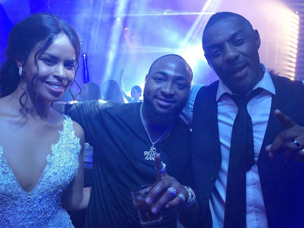 Davido with Idris Elba and Sabrina Dhowre