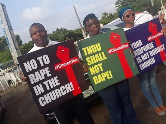 #ChurchToo: Anti-R*pe Protesters Storm COZA Churches In Lagos And Abuja
