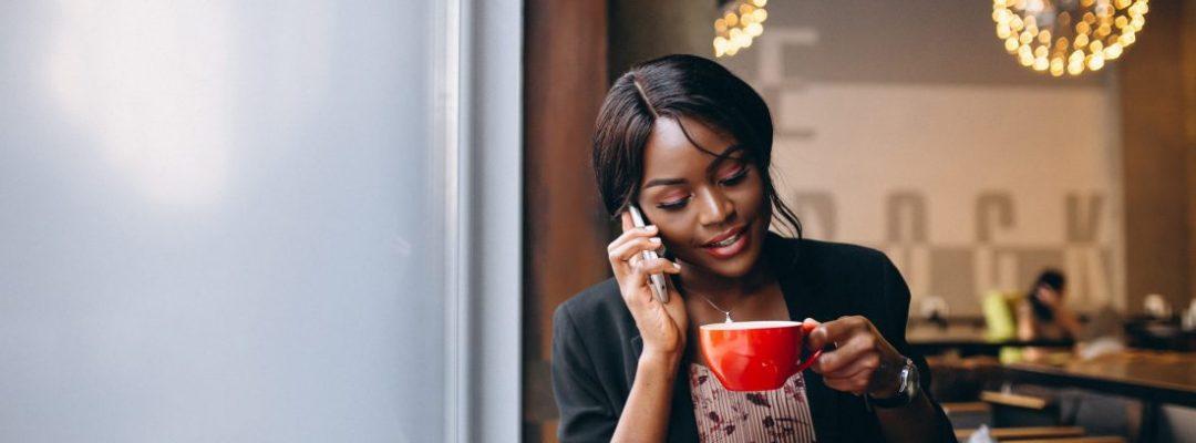 working woman drinking breakfast coffee