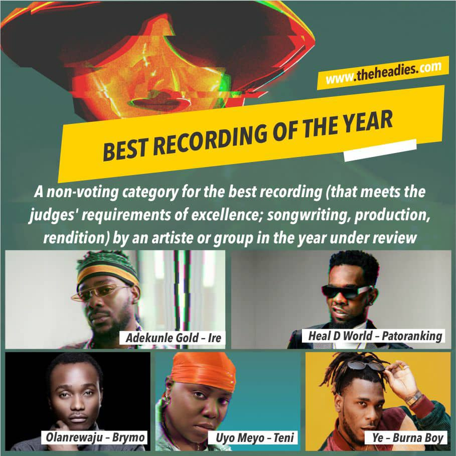 2019 Headies Awards nominees