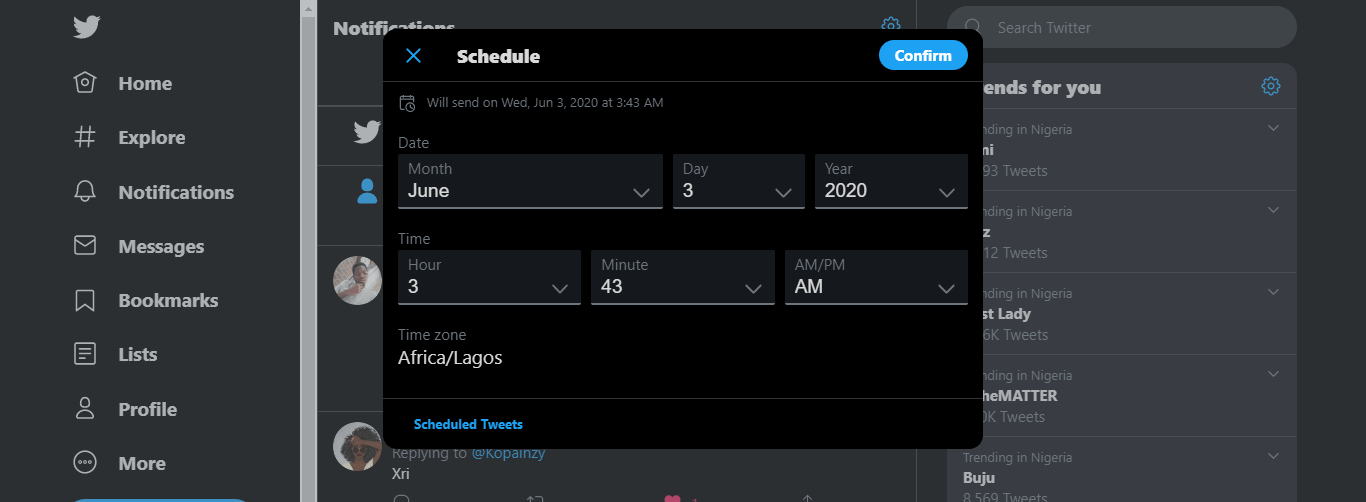 Schedule Tweets web app