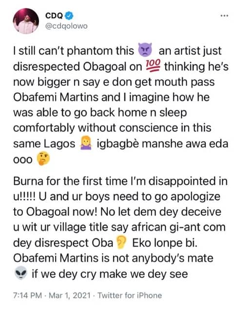 Burna Boy Obafemi Martins CDQ