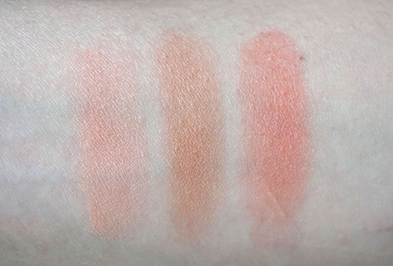 H&M Powder Blushers swatches. L-R: Coral, Brown Sugar, Apricot.