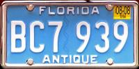 Florida Antique License Plate