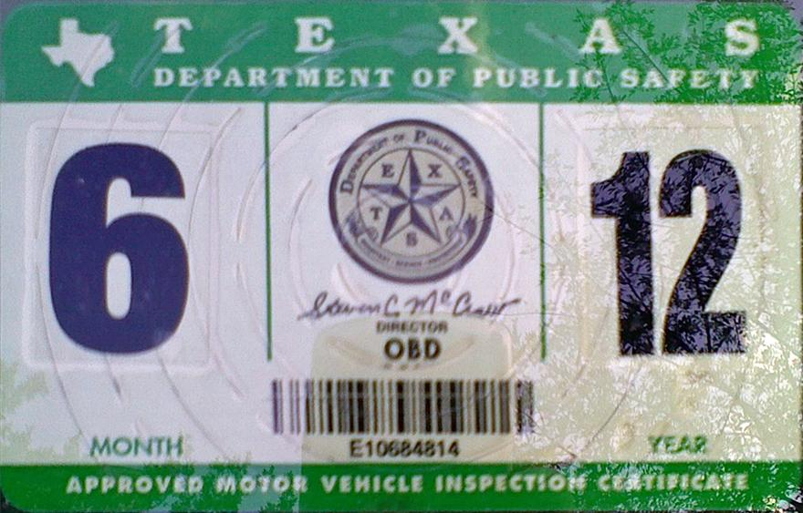 ... Motor Vehicle Inspection Windshield Sticker May. Texas 2 Y2k