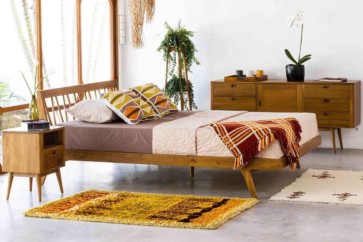 Fifties Platform Bed  Danish Honey