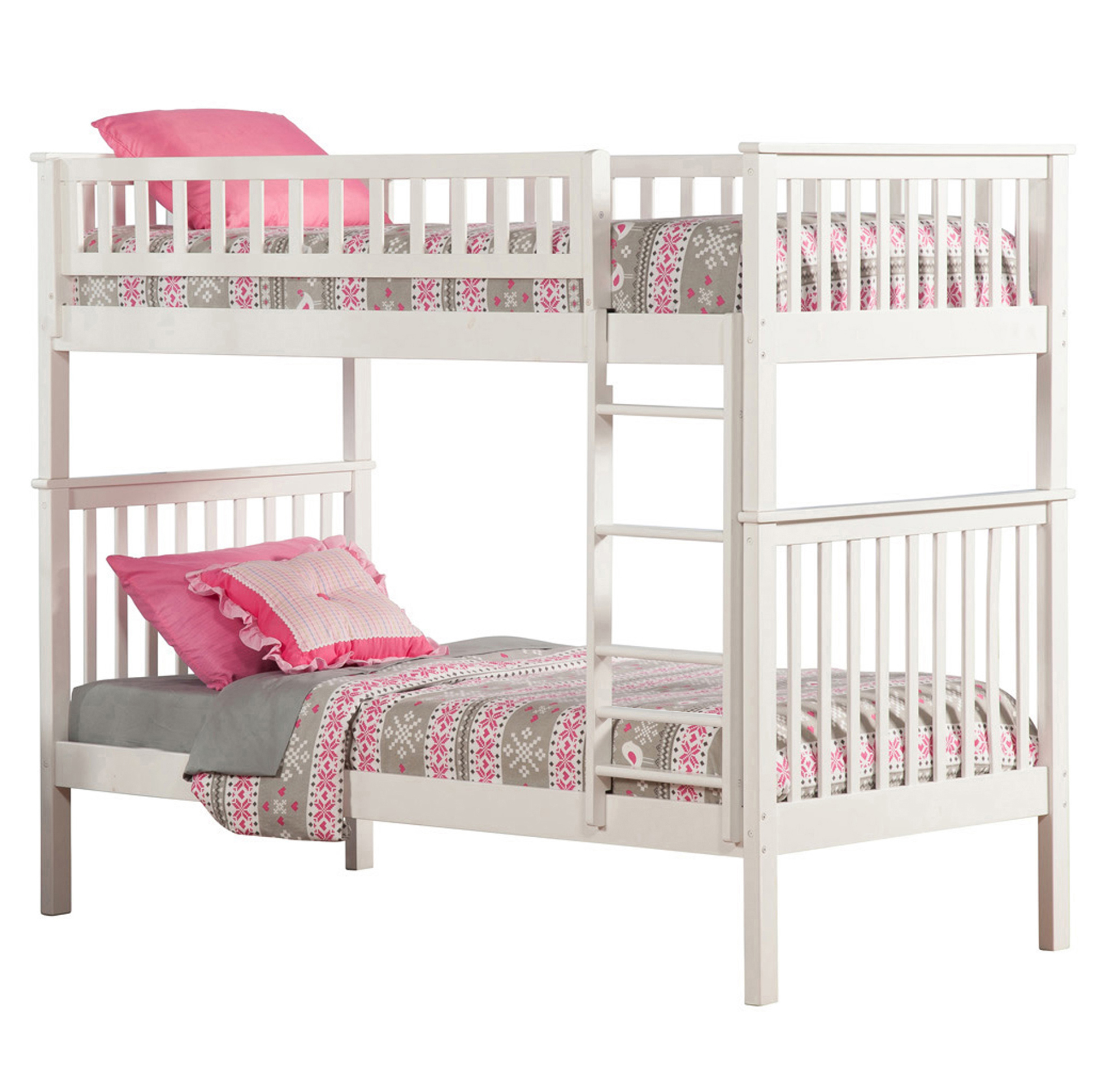 Woodland Twin Twin Bunk Bed White Ab56102