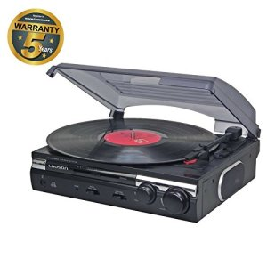 Lauson CL 145 Platine Vinyle USB | Convertisseur Vinyle à MP3 | 33/45 RPM | Tourne-Disque avec Haut-Parleurs Intégrés. (Noir)
