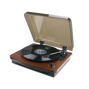 HOVAMP Table Tournante MT-01, Lecteur De Disques StéRéO RéTro Avec Fonction Vinyle-à-MP3 Et 2 Haut-Parleurs En Bois 100% Naturel (CAFÉ)