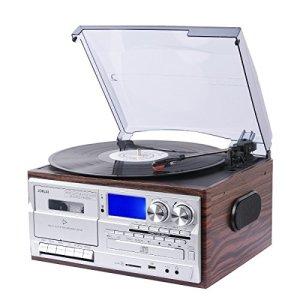JORLAI Lecteur Tourne-disque retro avec Bluetooth et Haut-parleurs Stéréo Intégrés Affichage avec un Grand LCD Enregistreur &Support USB / SD Encodage MP3 / Cassette & Lecteur CD, Radio AM / FM, AUX IN, Sortie RCA