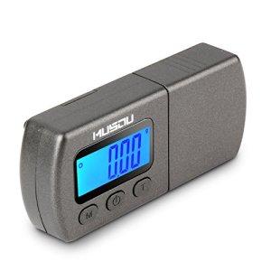 Musou Mini Balance Numérique de Cellule de la Platine Vinyle Précision 0.01g Adaptateur Trace d'Aiguille de Phonographe Disque Microsillon avec l'Ecran LCD Rétroéclairé Bleu pour Platine VJ