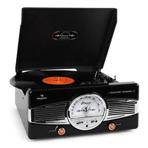 auna MG-TT-82B • Rétro • Stéréo • Lecteur de Disque • Transmission par Courroie • Max. 45 Tours • Haut-parleurs stéréo • Design 50's • Démarrage/arrêt Automatique • Tuner Radio • Récepteur FM • Noir