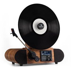 auna Verticalo DAB • Platine vinyle • Tuner DAB+ et FM • Bluetooth • MP3 • USB • Variateur de vitesse • Chaîne LCD • Design rétro • Polyvalent • Fonction réveil • Fonction arrêt automatique • Bois