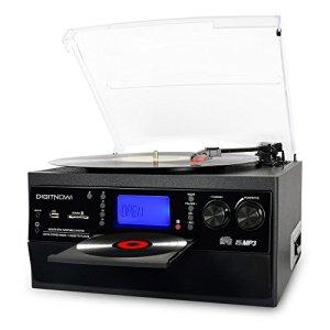 DIGITNOW! Platine Vinyle Bluetooth Tourne-Disque USB mp3 et Fonction Encodage Classique Lecteur CD avec CD Cassette Radio 33/45/78 RPM Haut-parleurs Intégrés