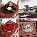 Gramophone/Phonograph Voice Nostalgie Musique rétro avec Haut-parleurs stéréo • Radio • CD • MP3 et USB avec klaxon (Support de Table/Haut-Parleur de Grave), 3 Vitesses (33/45/78)