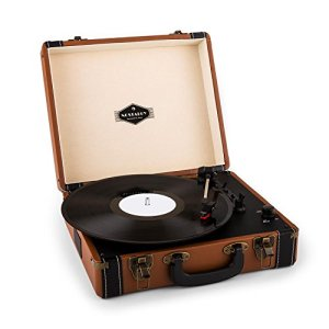 Auna Jerry Lee • Platine Vinyle • Tourne-disque • Entraînement par courroie • Enceintes Stéréo • Prise USB pour digitaliser • 3 vitesses • 33, 45 et 78 tours. • 3 tailles de disque • marron