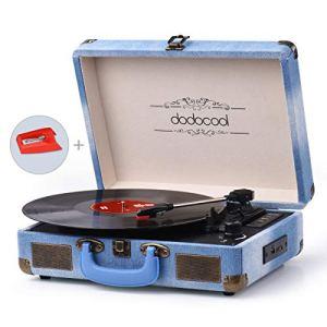 dodocool Platine Vinyle Bluetooth, Tourne Disque Vintage 33/45/78 TR/Min avec des Haut-parleurs Stéréo Intégrés, Soutien l' Enregistrement à MP3, SD/ USB/ Aux Entrée/ Sortie RCA