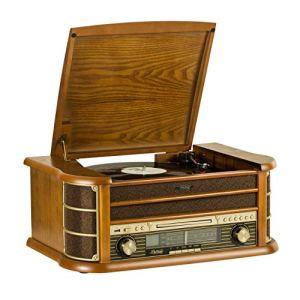 SHUMAN Système de Musique en Bois 7 en 1 / Platine Vinyle / Lecteur CD / Lecteur MP3 / Bluetooth / Port USB / Tuner Radio FM / Enregistrement – Brun (MC250BT)