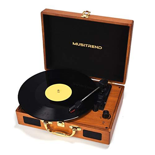 MUSITREND Tourne Disque, Platine Vinyle Rétro Portable à 3 Vitesses (33/45/78) avec 2 Haut-Parleurs, Bois