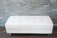 white leather bench, chrome modern white leather bench ...