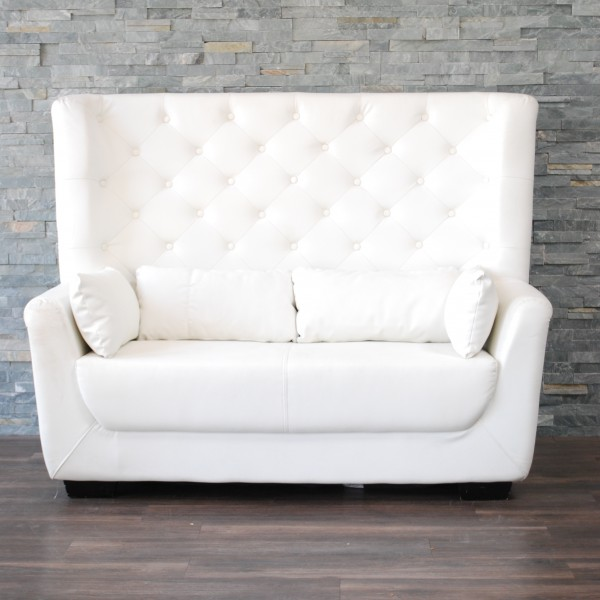 72 sofa table and end set white leather high back tufted love seat | platinum event ...