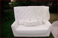 White Leather High Back Tufted Love Seat (does not include ...