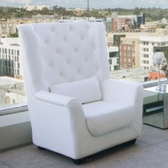 White Tufted Chairs Land Of Nod High Chair Leather Curved Bench One Piece Only Platinum Event Rentals Back