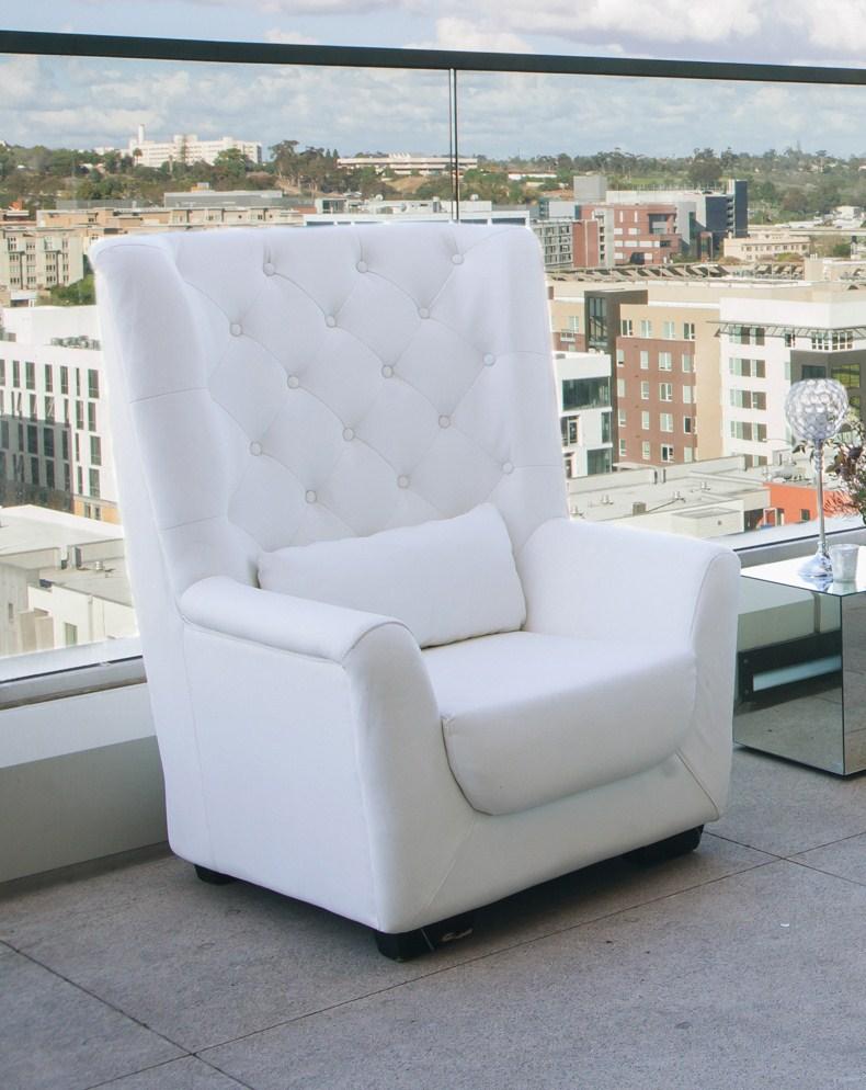 high back tufted chair bedroom storage white platinum event rentals