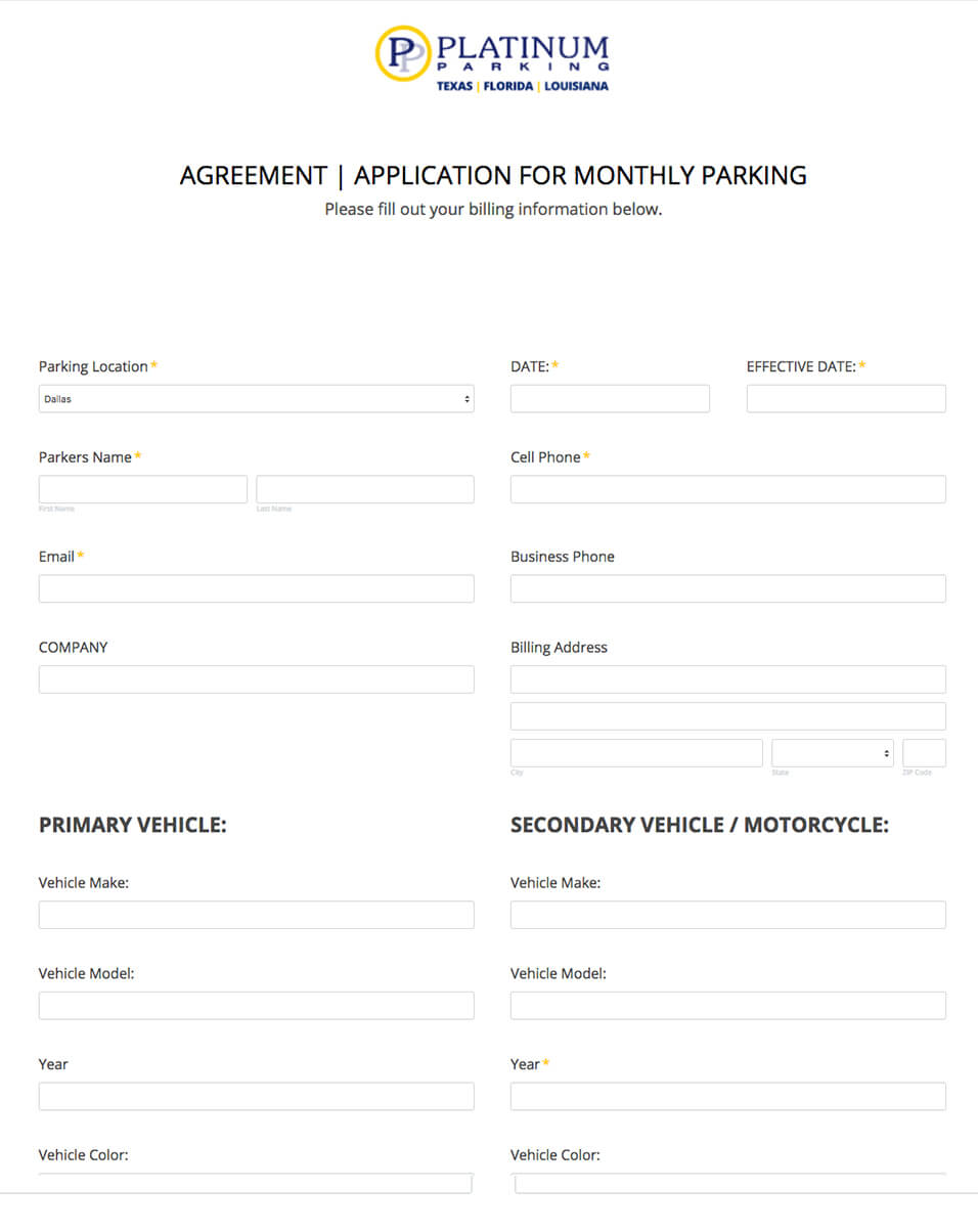 Monthly Parking Application Form