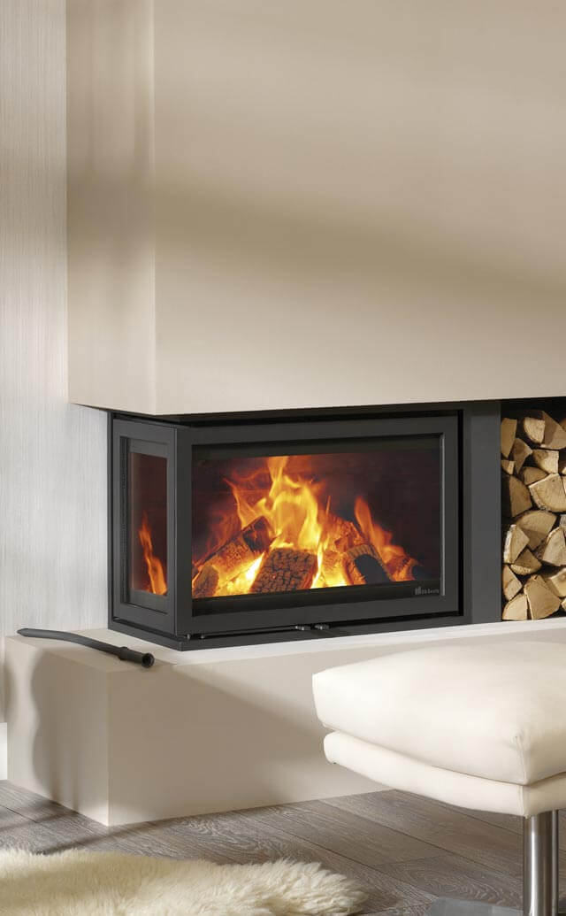Instyle Corner Fireplace Double Sided Wood Burner 2 Sided Wood Burning Fireplace  Platonic