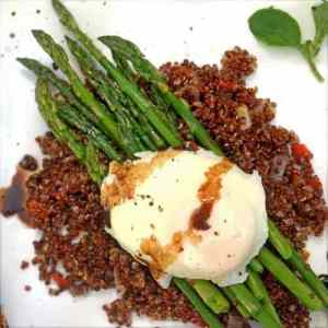 Poached Egg over Asparagus and Crispy Quinoa from Platter Talk