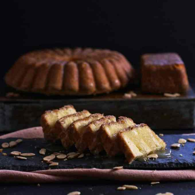 Slices of amaretto cake are perfect for any special ocassion.