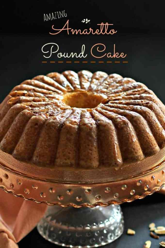 Amazing Amaretto Pound Cake on Platter Talk food blog