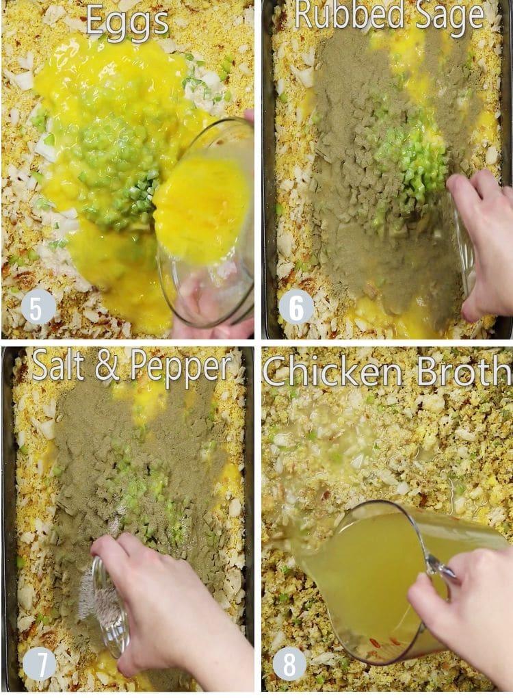 Putting egg, sage, and seasoning in cornbread dressing