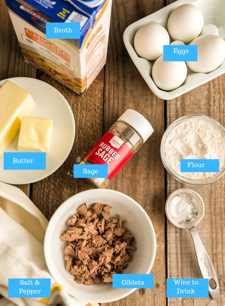 Ingredients for how to make giblet gravy: giblets, broth, flour, eggs, sage, butter.