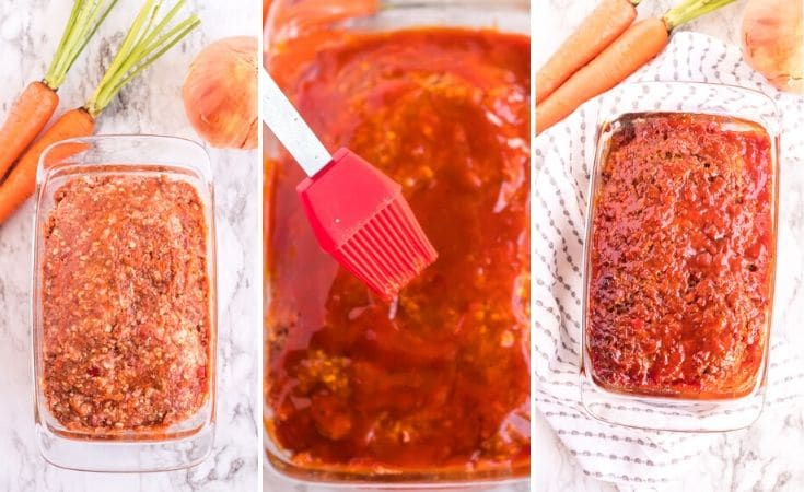 Unbaked meatloaf with barbecue sauce on top.